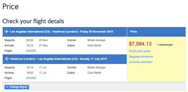 BA Club World Normal Fares