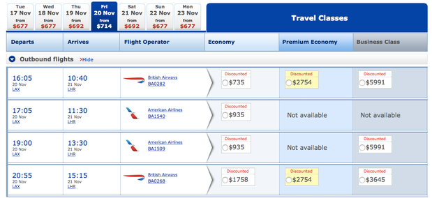 BA Fare Comparison after the 48-hour sale