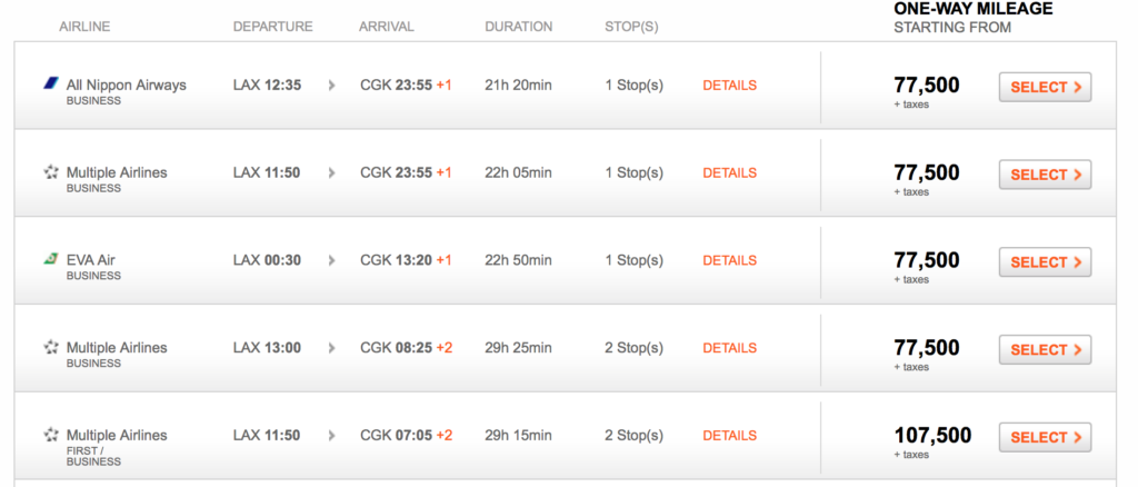 Aeroplan Search Result
