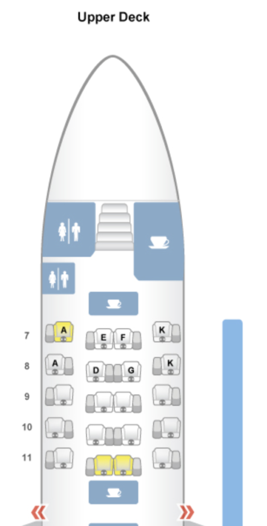 Asiana Business Class A380 Upper Deck Seat Map