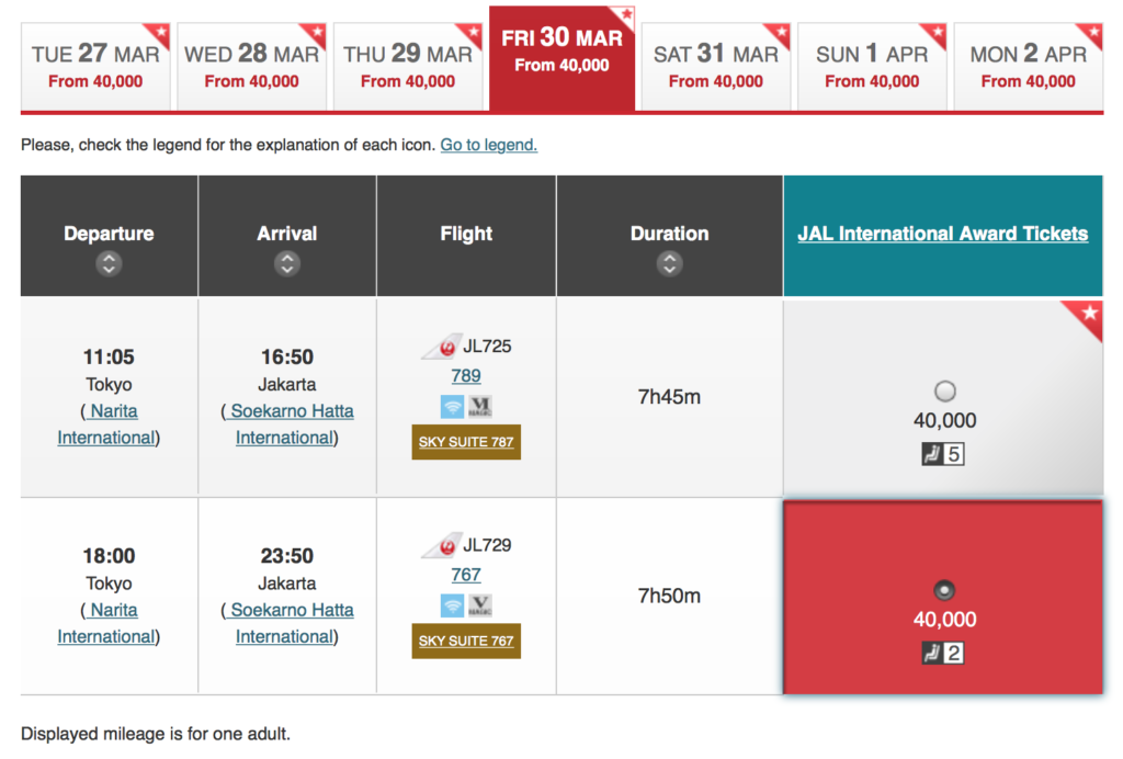 JAL Award Seat Booking - Available Seats