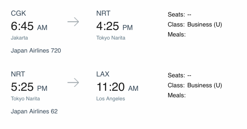 JAL Itinerary