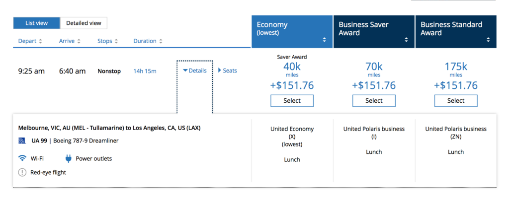 United Award Rates MEL LAX
